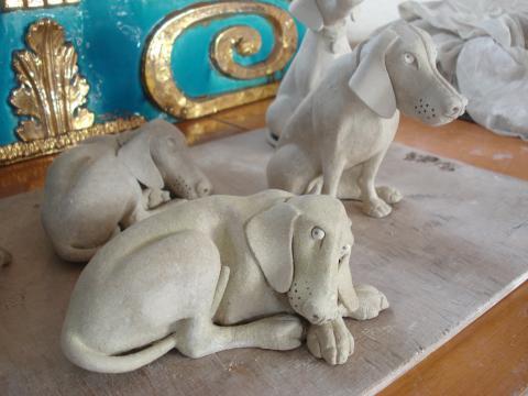 Sculptor Susan's Weimaraners